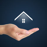 Real estate agent. Offer house. Property insurance, mortgage and real estate services concept Royalty Free Stock Photos