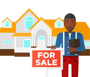 Real estate agent offering house. Stock Image