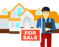 Real estate agent offering house. Stock Photos