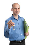Real estate agent offering keys Stock Photo
