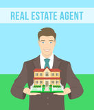 Real Estate Agent Offers a House. Vector flat stylized illustration of realtor, real estate agent, attractive young smiling man holding in his hands the model of stock illustration