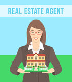 Real Estate Agent Offers a House. Vector flat stylized illustration of realtor, real estate agent, attractive young smiling woman holding in her hands the model stock illustration