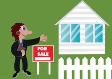 Real Estate Agent. A real estate agent advertising a foreclosed home Royalty Free Stock Photos