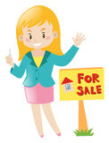 Real estate agent selling house. Illustration Royalty Free Stock Photos