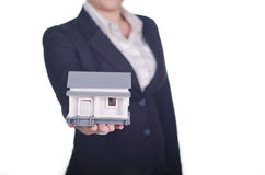 Real estate agent show a house Stock Photo