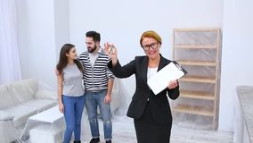 Real estate agent showing apartment or flat stock footage