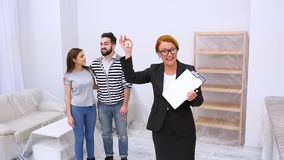Real estate agent showing apartment or flat stock video