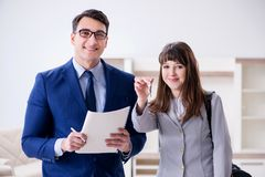 The real estate agent showing new apartment to owner. Real estate agent showing new apartment to owner Stock Photography