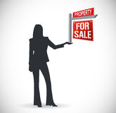 Real estate agent and sign. illustration design Royalty Free Stock Photos