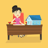 Real estate agent signing contract. Real estate agent sitting at workplace in office with house model on the table. Woman signing home purchase contract royalty free illustration