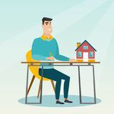 Real estate agent signing home purchase contract. Royalty Free Stock Photo