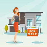 Real estate agent signing home purchase contract. Royalty Free Stock Image