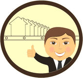 Real estate agent smile and showing thumb up vector illustration