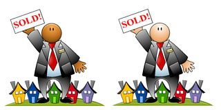 Real Estate Agent With Sold Sign and Houses Stock Photography