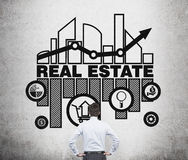 Real estate agent is thinking about opportunities of real estate market. Royalty Free Stock Image