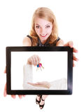 Real estate agent woman showing keys on tablet. Stock Images
