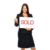Real estate agent woman sold Royalty Free Stock Image