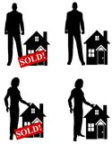 Real Estate Agents With Houses. A clip art illustration featuring an assortment of real estate agents standing beside houses Royalty Free Stock Image