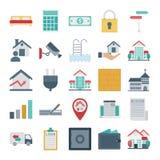 Real Estate aisló los iconos del vector muy de moda para el estado y la propiedad consiste con la cama, calculadora, cerradura, d ilustración del vector