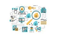 Real Estate alinea el ejemplo de los iconos stock de ilustración