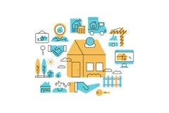 Real Estate alinea el ejemplo de los iconos ilustración del vector