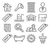 Real Estate alinea iconos Fotografía de archivo
