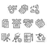 Real Estate alinha ícones Fotografia de Stock Royalty Free