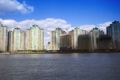 Real estate along huangpu river under blue sky Royalty Free Stock Photos