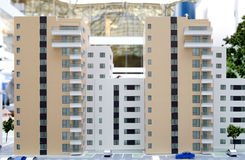 Real estate apartment buildings - miniatures. Apartment buildings miniatures reproduction on real estate market showing new blocks Royalty Free Stock Photo
