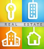 Real estate applique background. Vector. Illustration for your housing presentation. Set of white homes and key cutouts on different color backgrounds. Banner Royalty Free Stock Image