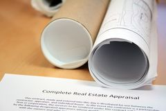 Real Estate Appraisal and Blueprints Stock Image