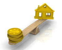 Real Estate Appraisal. Money (coins with the symbol of the US dollar) and the symbol of the house weighed in the balance. Financial concept Stock Images