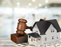 Real Estate Auction. House Law Residential Structure Gavel Legal System Currency Royalty Free Stock Photos