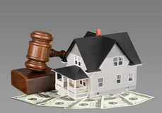Real Estate Auction. House Law Residential Structure Gavel Legal System Currency Stock Photos