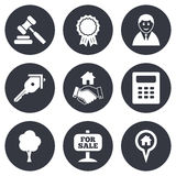 Real estate, auction icons. Handshake, for sale Royalty Free Stock Photography