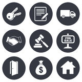Real estate, auction icons. Handshake, for sale Royalty Free Stock Image