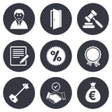 Real estate, auction icons. Home key sign Royalty Free Stock Image