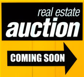 Real estate auction sign Royalty Free Stock Photography