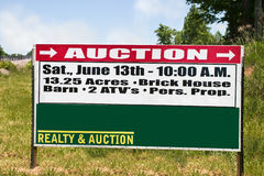 Real estate auction sign. For family farm Stock Photo