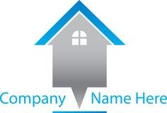 Real Estate azul Logo House Imagens de Stock