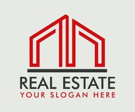 Real Estate, bâtiment, construction et architecture Logo Vector Design illustration stock