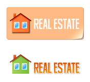 Real estate banner with house icon Stock Image