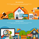 Real Estate Banners. Real estate deal and property search colorful horizontal banners set flat  vector illustration Royalty Free Stock Photo