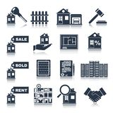 Real Estate Black Icons. Set of house apartment and commercial property isolated vector illustration Royalty Free Stock Photos