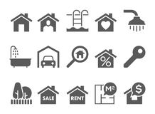 Real estate black and white icons Royalty Free Stock Photo
