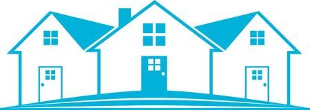 Real Estate bleu Logo House Image stock