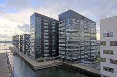 Real estate. Block of new residential quarter apartment buildings in Copenhagen, Denmark Royalty Free Stock Photography