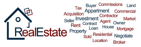 Real Estate Blue Red Horizontal. Banner image with real estate text and related keywords stock illustration