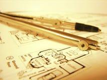 Real estate blueprint Stock Photo