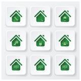 Real Estate bringen die flachen eingestellten Ikonen unter Stockbilder